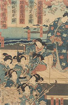 JAPANSK KONSTNÄR 1800/1900-TAL, TRÄSNITT, 2 st.