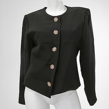 YVES SAINT LAURENT, A black wool-and silk jacket by Yves Saint Laurent.