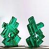 """Edvin öhrström, skulptur, två delar """"kristallisk komposition"""", lindshammars glasbruk, 1960-tal."""