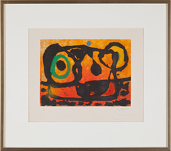 JOAN MIRÓ, 1967, aquatint and carborundum, signed in pencil and numbered 35/75.