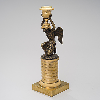 LJUSSTAKE, brons och förgylld brons, empire 1800-talets början.