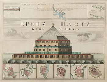 """KARTA, kopparstick, """"Plan des castels Cronslot, A 1750""""."""