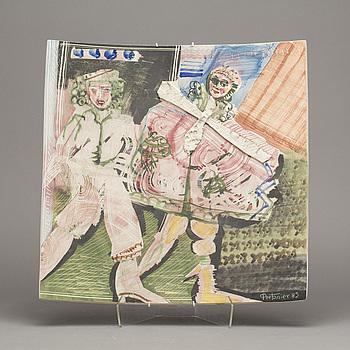 FAT, keramik, Gilbert Portanier, signerat och daterad -85.