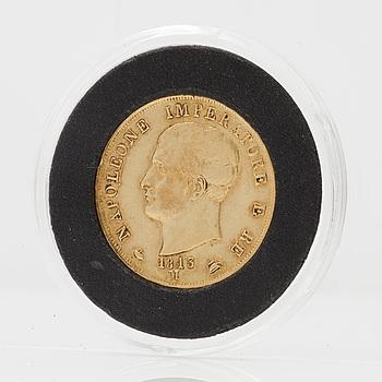 GULDMYNT, 40 lire, Napoleon Italien 1813. Vikt ca 12,9 gram.
