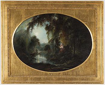 ELIAS MARTIN, tillskriven, olja på pannå, oval,  37 x 50 cm, osignerad.