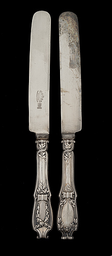 Six fabergé knives and forks, silver, moscow 1899-1908.