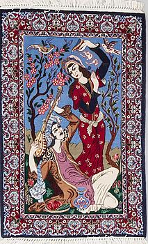RUG, old, Esfahan, part silk, circa 109 x 69 cm.