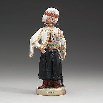 142. A Russian biscuit figure of a Kurdish warrior , Gardner, Verbilki Dmitrov gub (1891-1917).