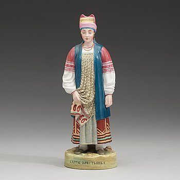 144. A Russian biscuit figure of a peasant woman from Kaluga, Gardner, Verbilki, Dmitrov gub, (1891-1917).