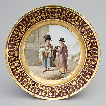 A RUSSIAN PORCELAIN PLATE ROM THE GURIEV SERVICE, Imperial Porcelain Factory 1809-1816, the time of Alexander I.