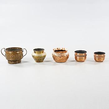 Five metal flower pots, early 20th century.