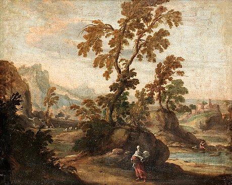 Sebastiano ricci hans krets, ruinlandskap med figurstaffage