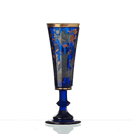 A russian blue glass champagne flute, presumably imperial glass manufactory, st petersburg, end of 18th century.