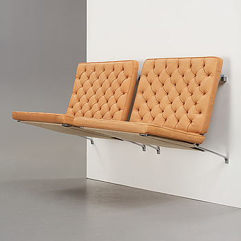 """POUL KJAERHOLM, vägghängd soffa, 2 sektioner """"PK-26"""", för Fritz Hansen, Danmark 1991."""