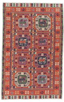 """115. A CARPET, """"Bäckahästen"""", a fine flat weave, 309 x 196,5 cm, signed MMF."""