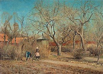 """228. ANSHELM SCHULTZBERG, """"Barn i trädgården"""", motiv från Nyckelviken (Children in the Garden, scene from Nyckelviken)."""