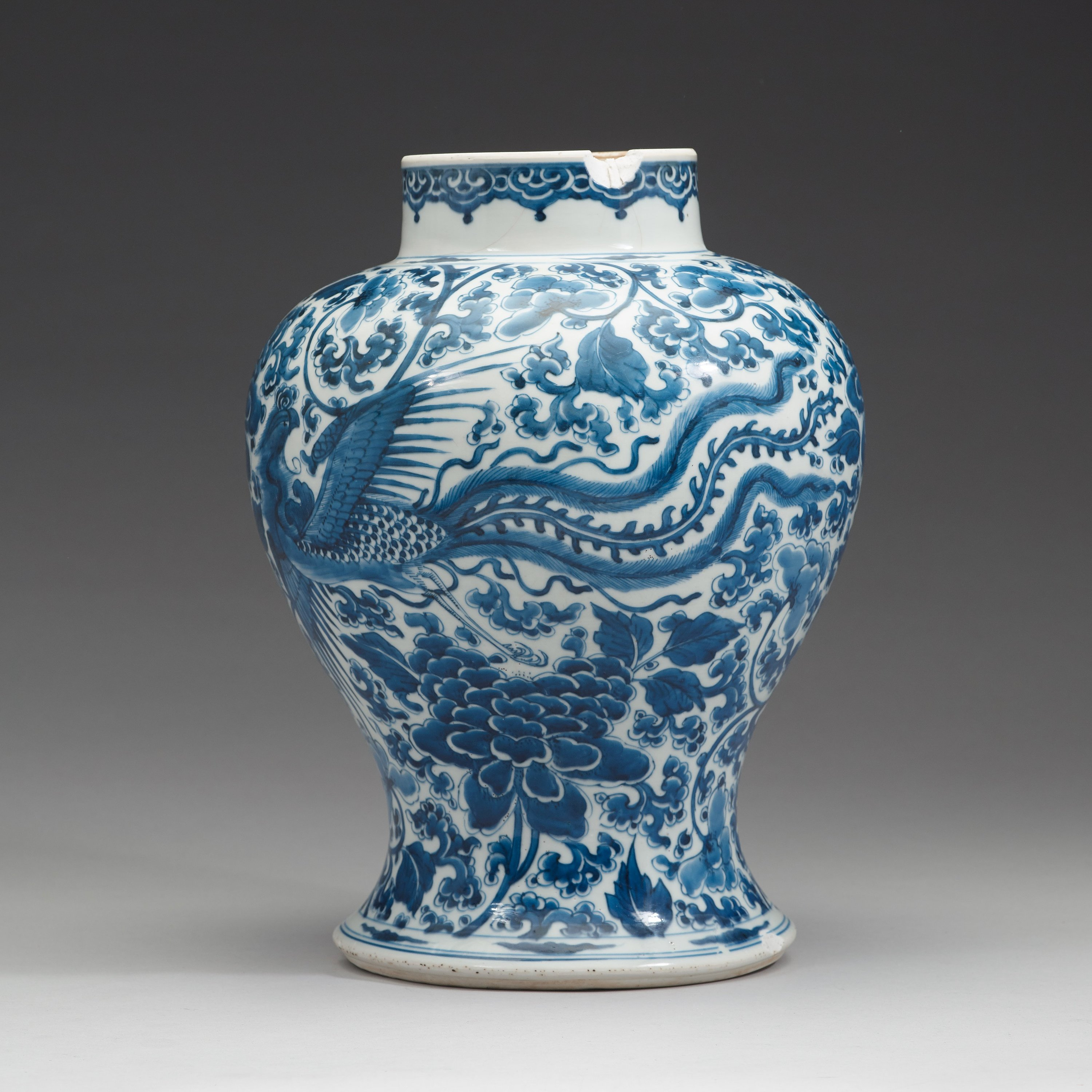 """24.5/""""H Hand-painted White and Blue Vase Birds Design-J77"""