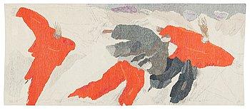"110. A TAPESTRY. ""Skridskoåkare"". Tapestry variant with applications. 90 x 214 cm. Signed HAV LH BB."
