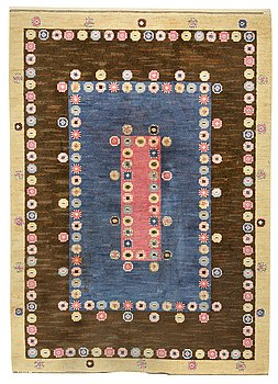 "112. A CARPET, ""Tusenskönan med blått"" (""Bellis""), knotted pile, 248,5 x 176 cm, signed AB MMF."