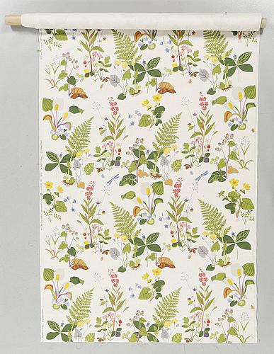 """Tyg, """"trollslända"""", gocken jobs för nk:s textilkammare, 1900-talets andra hälft, 560x130 cm."""