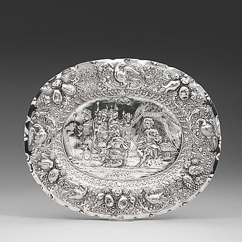 90. Petter Bernegau, presenterfat, silver, Stockholm 1711, barock.