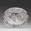 A swedish early 18th century silver presentation-dish, mark of petter bernegau, stockholm 1711.