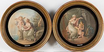 GIOVANNI BATTISTA CIPRIANI, efter, punktgravyrer, ett par, graverade av Francesco Bartolozzi, sekelskiftet 1700/1800.