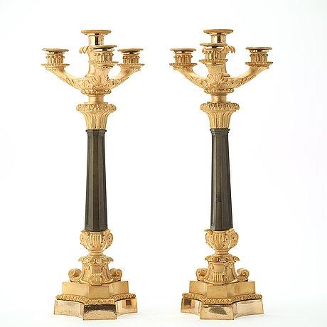 A pair of four-light candelabra, empire.