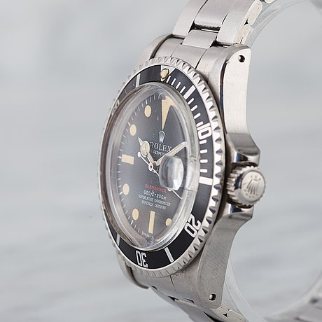 "Rolex, oyster perpetual date, submariner (660ft=200m, swiss-t, mark iv), chronometer, ""red text""."