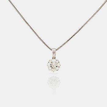 HÄNGE samt KEDJA med äldre slipad diamant ca 2.40 ct. Kvalitet ca K-L/VVS-VS.