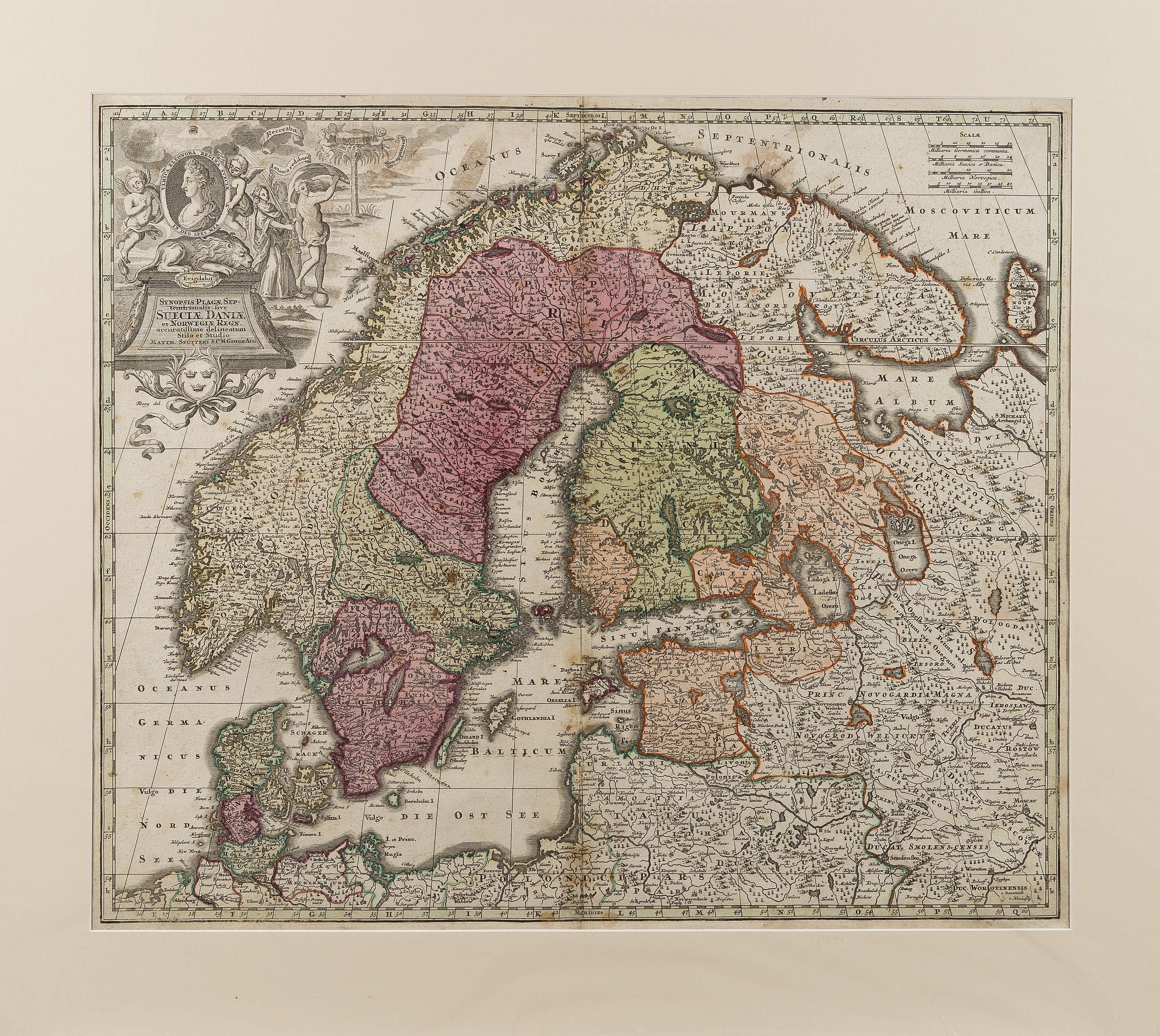 A Map Of Scandinavia Sueciae Daniae Et Norwegiae Matthaus