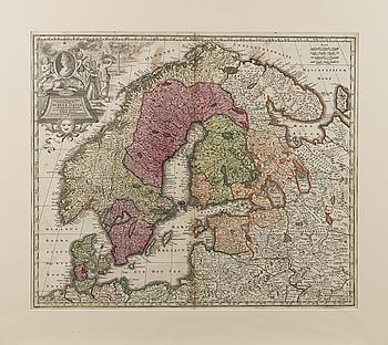 KARTA ÖVER SKANDINAVIEN. Sueciae, Daniae et Norwegiae. Matthäus Seutter. 1700-talets första hälft.