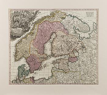 KARTA, handkolorerat kopparstick, Johann Baptist Homann, 1700-tal.