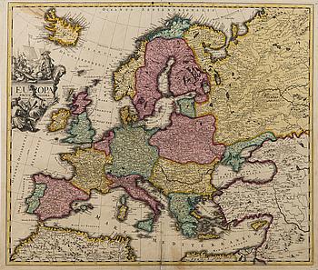 """KARTA, Pierre Schenk """"Europa excultissima"""", ca 1700."""