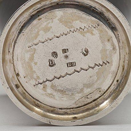 A baltic 18th century parcel-gilt beaker, mark of johann heinrich tenten, mitau (1732-1739).