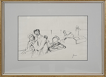 JEAN LOUIS FORAIN, teckning, signerad.