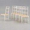 Erik chambert, a set of six erik chambert 'poem' white lacquered chairs, chambert's, sweden 1950's.