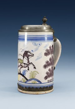 1209. A pewter mounted faience tankard, 1780's, presumably Bayreuth.