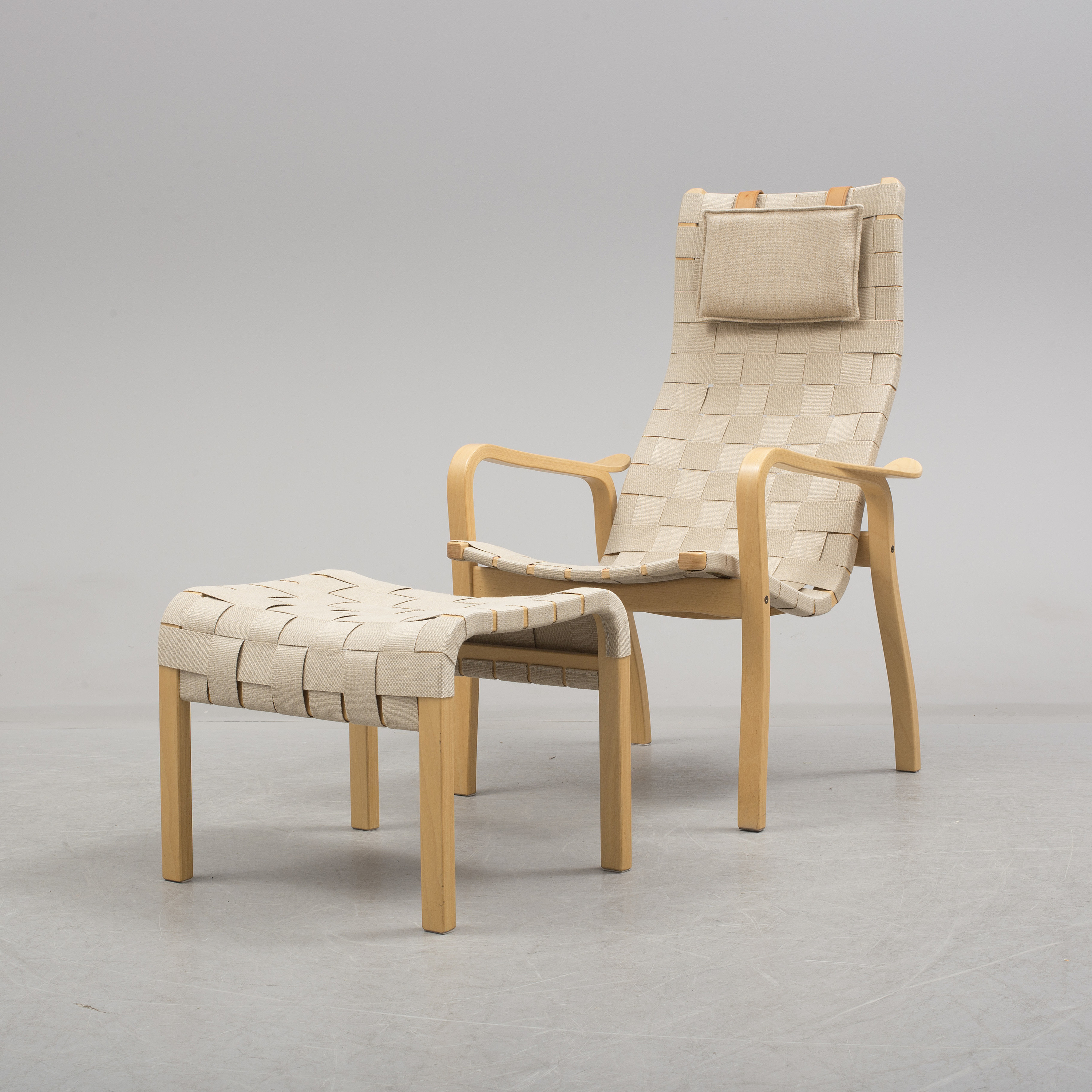 """A""""Primo"""" easychair and footstool by Yngve Ekström for Swedese Bukowskis"""