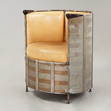 Mats theselius, a mats theselius 'elk-leather' armchair, källemo, sweden 1991.