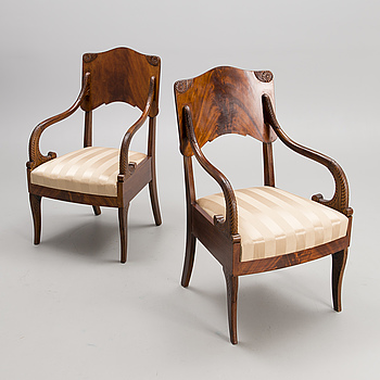 A PAIR OF RUSSIAN ARMCHAIRS, middle of the 19th century.