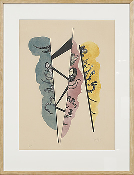 WASSILY KANDINSKY, WASSILY KANDINSKY, litograph in colours, sign and dated in the print, numbered 74/300.