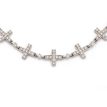 COLLIER med briljantslipade diamanter totalt ca 2,90 ct.