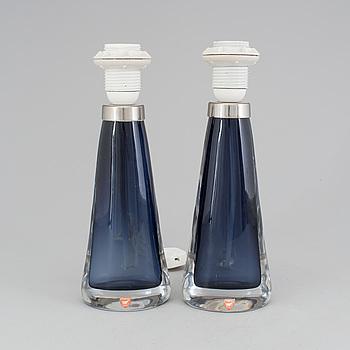 CARL FAGERLUND, Bordslampor ett par, glas, Orrefors, 1900-talets andra hälft.