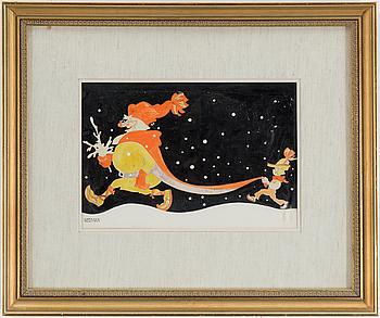 EINAR NERMAN, A gouasch on paper depicting Santa and a helper by Einar Nerman.