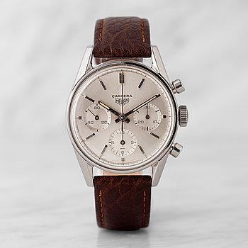 "6. HEUER, Carrera (T SWISS), ""First Execution"", chronograph, wristwatch, 36 mm,"