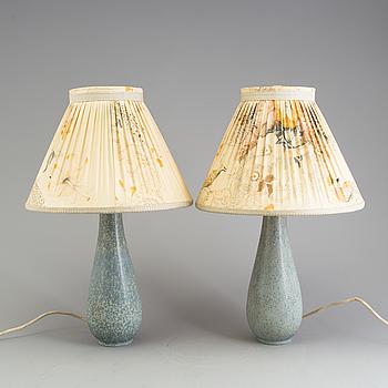 GUNNAR NYLUND, bordslampor, ett par, stengods, Rörstrand 1940-tal.
