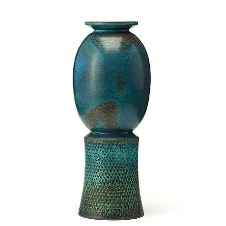 Stig lindberg, a stig lindberg stoneware vase, gustavsberg studio, sweden 1964.