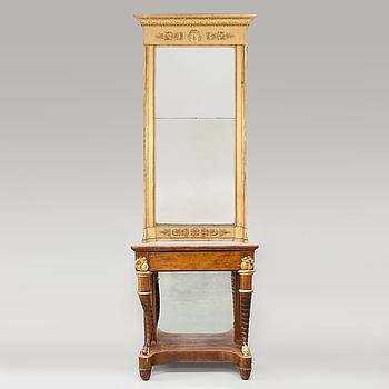 A German console table and mirror by Peter Schmuckert (1765-1841), Mannheim, circa 1820.