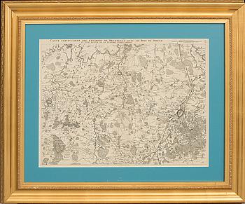 """KARTA, kopparstick. """"Carte Particuliere des Environs de Bruxelles avec le Bois de Soigne - 1706"""" Eugene Henry Frix."""